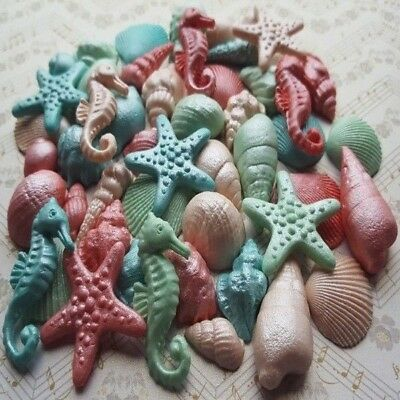 45 Edible Sugar Shells Stars Cake Cupcake Toppers Decorations (Airbrushed)