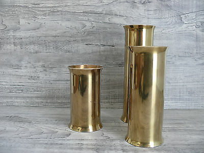 3 Brass Mid Century Candle Holders Made In Denmark for Scanmalay Original Tags