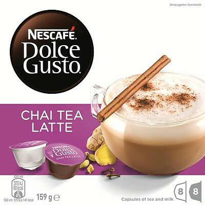 NESCAFE Dolce Gusto Chai Tea Latte 8 Coffee and 8 Milk Pods Capsules