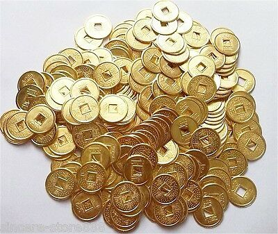50PCS Feng Shui Chinese Yellow Five Emperors auspicious Coins Lucky Round Coin