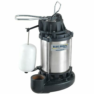 Blue Angel Pumps - 1/3 HP Stainless Steel / Cast Iron Submersible Sump Pump w...