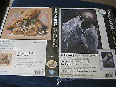 "TWO DIMENSIONS Counted CROSS STITCH KITS~WOLVES 10"" x 14"" & Teddy Bear & Kittens"