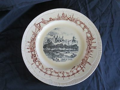 "Circa 1943 Clarice Cliff Newton Pottery Tower of London 10 3/4"" Plate Old Englan"