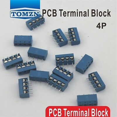 100 pcs 4 Pin Screw blue PCB Terminal Block Connector 5mm Pitch