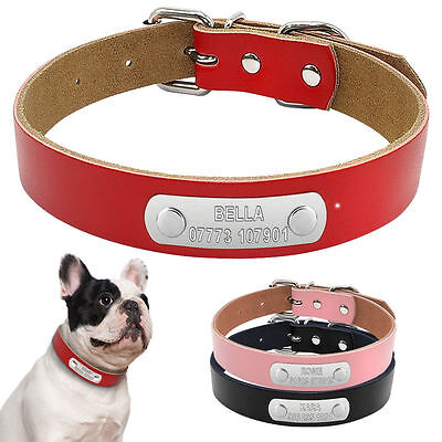 Leather Personalized Dog Collars Custom Cat Pet Dog Collars Engraved Free XS-L