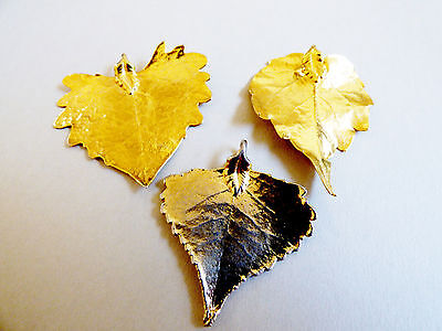 Lot of 3 real tree leaf dipped in gold pendants
