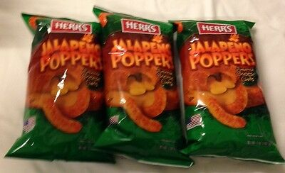 903351 x3 198.5g BAGS OF HERR'S JALAPENO POPPERS FLAVOURED CHEESE CURLS