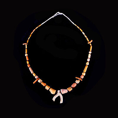 Roman red coral and glass bead necklace. x6488