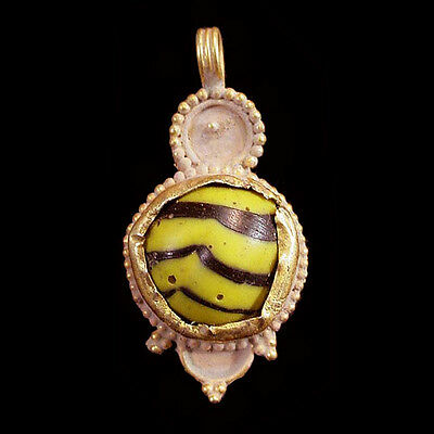 Islamic Glass set in modern 15ct gold as pendant. x5741