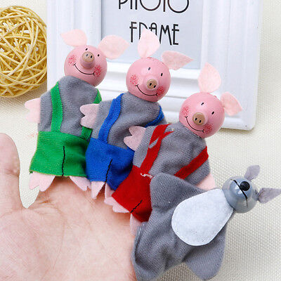 4 Pcs Three Little Pigs Finger Puppets Wooden Headed Kids Baby Educational Toy