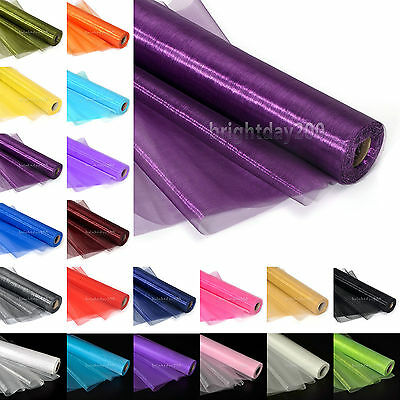 25meter x 29cm Organza Roll Sheer Fabric Wedding Table Runner Chair Sashes Decor