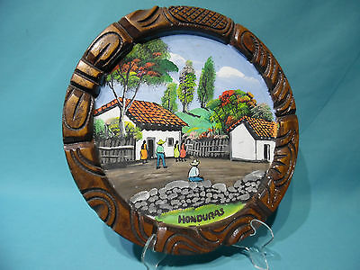 Honduras 1980s hand painted rural village scene souvenir carved wood wall plaque