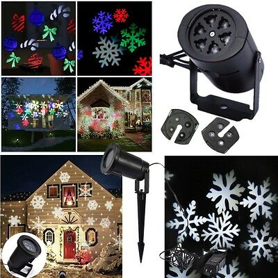 In/Outdoor LED Moving Snowflake Landscape Laser Projector Lamp Christmas Home