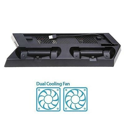 Vertical Stand Cooling Fan with Dual Charging Station for PS4 SLIM Accessories