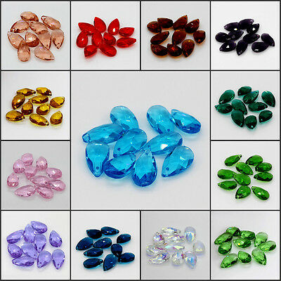 10pcs Wholesale Faceted Teardrop Loose Spacer Beads Glass Crystal Multi-Colors