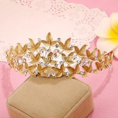 Vintage Wedding Bridal Crystal Gold Headband Crown Tiara Hair Accessories Band