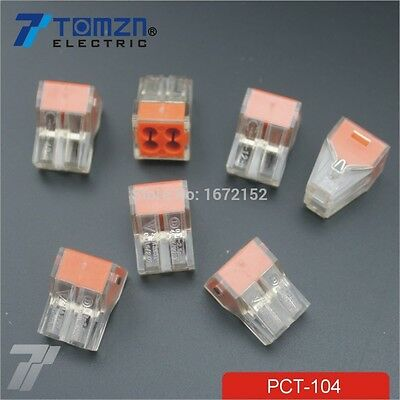 100Pcs PCT-104 Push wire wiring connector For 4 pin conductor terminal block