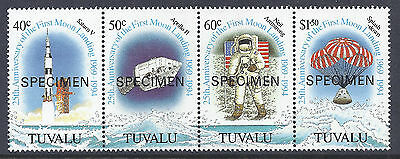 1994 TUVALU MOON LANDING 25th ANNIVERSARY STRIP OF 4 MINT MNH SPECIMEN OVPT
