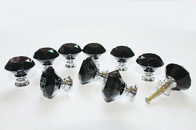 Lot of 10 Solid Black Crystal Glass Drawer Pull Cabinet Knob Kitchen Handle 30mm