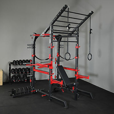 Power Rack Smith Machine Combo + FID HD Bench 150 KG Bumper Plates + Olympic Bar