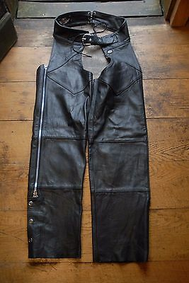 Harley Davidson Made in USA Black Leather Chaps Motorcycle Trousers Biker Medium