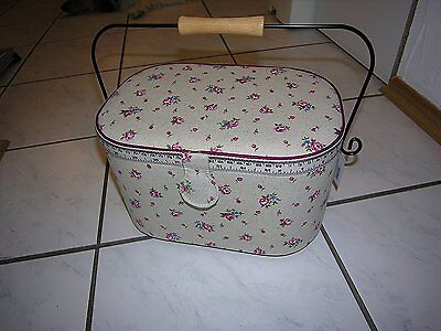 Prym Delicate Country Rose Print Tape Measure and Trim Sewing Basket with Handle
