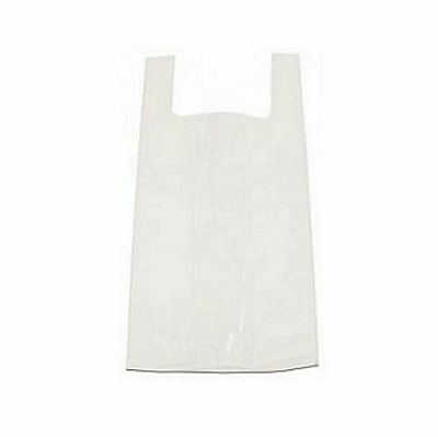 100 Strong White Plastic Vest Shaped Shopping Carrier Bags - Various Sizes
