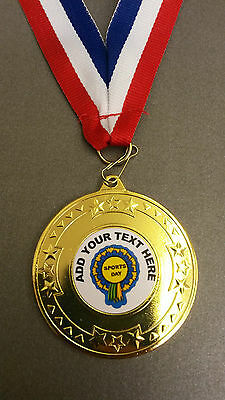 Sports Day Medal Personalised School Club + Ribbon Gold/silver Or Bronze