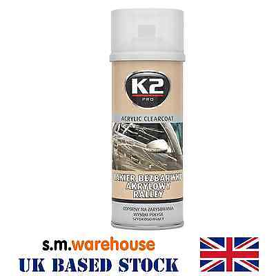 K2 Acrylic Ralley Fast Dry High Gloss Clear Top Coat Car Lacquer Spray Metal NEW