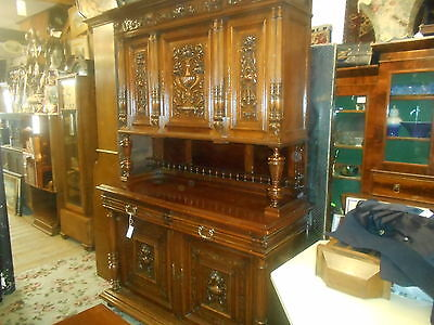 Victorian Antique Carved French Cabinet Bookcase Dresser Storage Very Clean