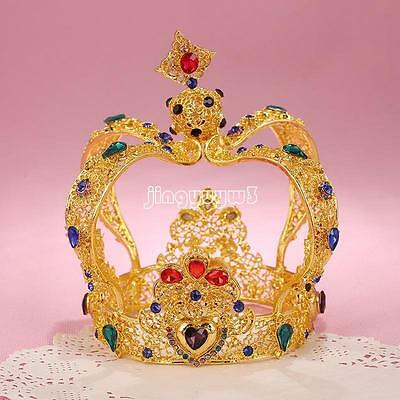 New Gold Wedding Bridal Crystal Headband Queen Crown Tiara Hair Accessories Prom