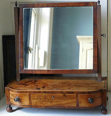 Antique Regency Bowfronted Mahogany Toilet Mirror
