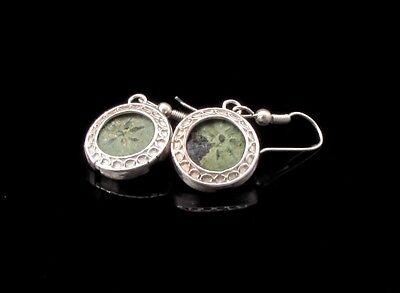 Two Widow's Mite Coins  Set In Sterling Silver  Earrings