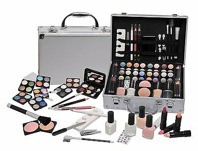 Make Up Vanity Cosmetic Set With Metal Case Makeup Manicure Accessories Gift NEW