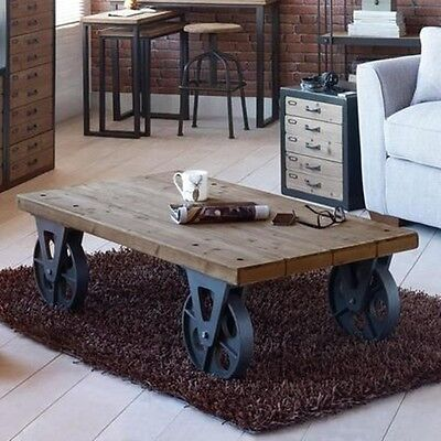 X Large Industrial Wooden Iron Coffee Table with Black Wheels Retro Vintage