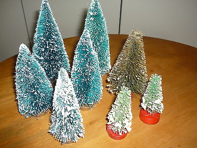 Lot 8 Vintage Brush Trees For Christmas Village # 85