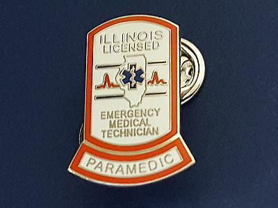 "ILLINOIS LICENSED PARAMEDIC PIN..1"" in size, Pin Back Attachment"
