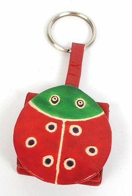 LADYBIRD COIN PURSE on KEYRING red & green recycled leather fair trade NEW!