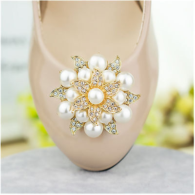 2Pc Fashion Rhinestones Pearls Flowers Crystals Wedding Party Shoe Clips Buckles