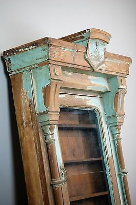 Antique French Wooden Display Shelf / Kitchen Wall Unit Original Paint And Glass