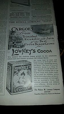 VINTAGE 1911 Rare AD Lowneys Cocoa  FREE SHIPPING