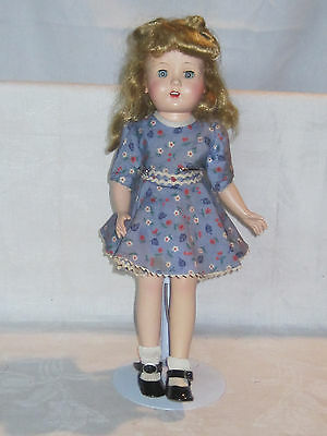 """Vintage 1950s Made in USA hard plastic 14"""" doll, open mouth, teeth & sleep eyes"""