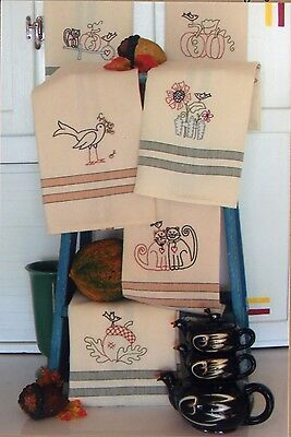HARVEST TEA TOWELS HAND EMBROIDERY PATTERN, From Bird Brain Designs NEW