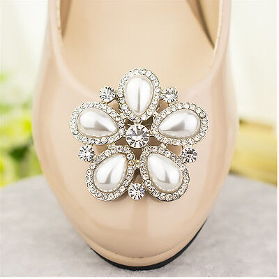 2Pcs Elegant Women's Removable Pearl Rhinestone Flower Shoe Clips Accessories