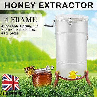 4 Frame Stainless Steel Honey Extractor Centrifuge Tool + Lid Beekeeper Supply