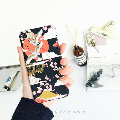 6a49d113e9 JAPANESE STYLE CRANES Cherry blossoms Hard Case Cover For iPhone 8 7Plus 6  6s