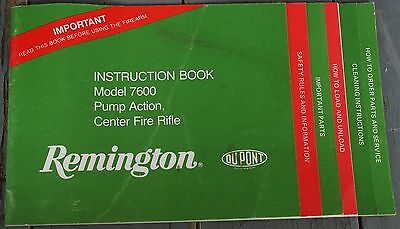 REMINGTON 7600 Pump Rifle Instruction / Owner's MANUAL 1980's?