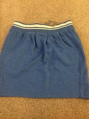 Next Girls Cotton Jersey Blue Mini Skirt Age 8 Yrs Ne