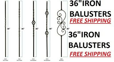"""36"""" Black Iron Stair Parts Metal Balusters Spindles Twists Baskets Scrolls 36"""""""