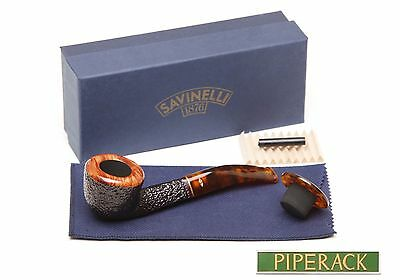 NEW Savinelli Tortuga Rustic 305 Tobacco Pipe with Cap. 6mm Filter